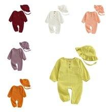 Комбинезон из чистого хлопка для новорожденных и маленьких мальчиков и девочек, комбинезон с шапочкой, повседневная одежда комплект одежды для сна из 2 предметов для детей от 0 до 24 месяцев