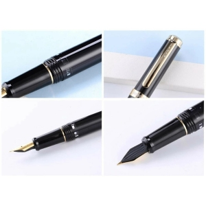 Image 4 - 2020 Model Wing Sung 698 Fountain Pen Black Gold Clip Ink Pen F Nib Business Stationery Office School Supplies Writing Gift