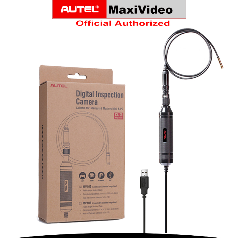 AUTEL MV105 5.5 Cm LED Car Inspection Digital Camera Waterproof Endoscope Diagnostic Tool Videoscope Borescope