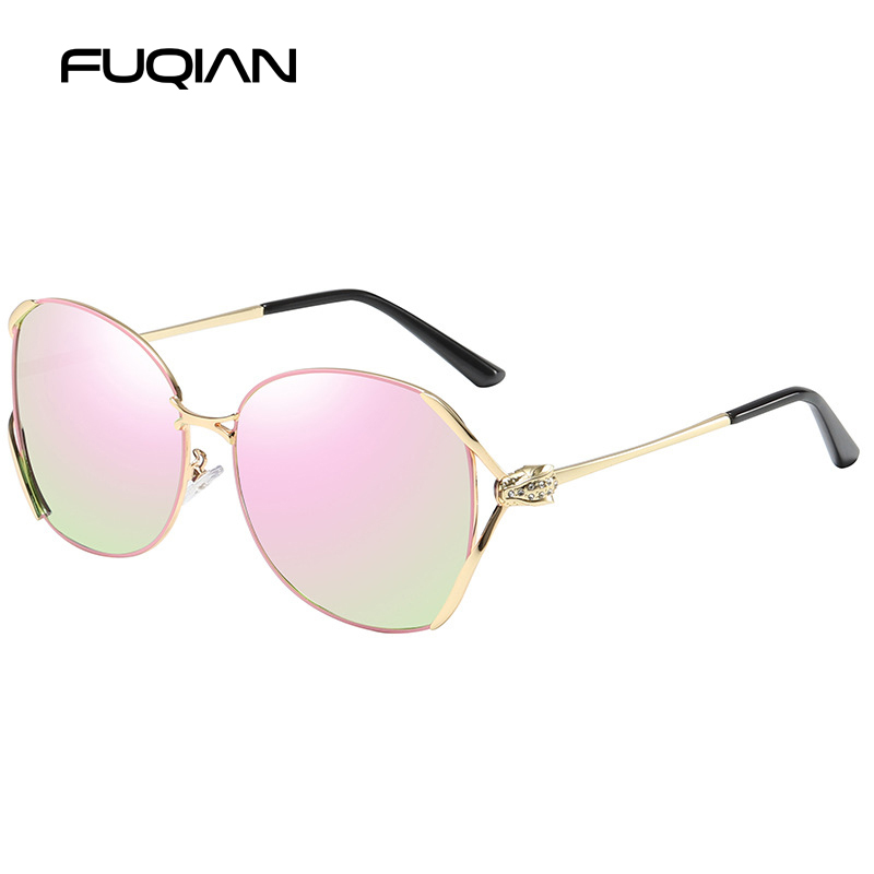 FUQIAN 2019 Fashinable Polarized Women Sunglasses Luxury Big Metal Frame Glasses Unique Design Temple Eyewear in Women 39 s Sunglasses from Apparel Accessories