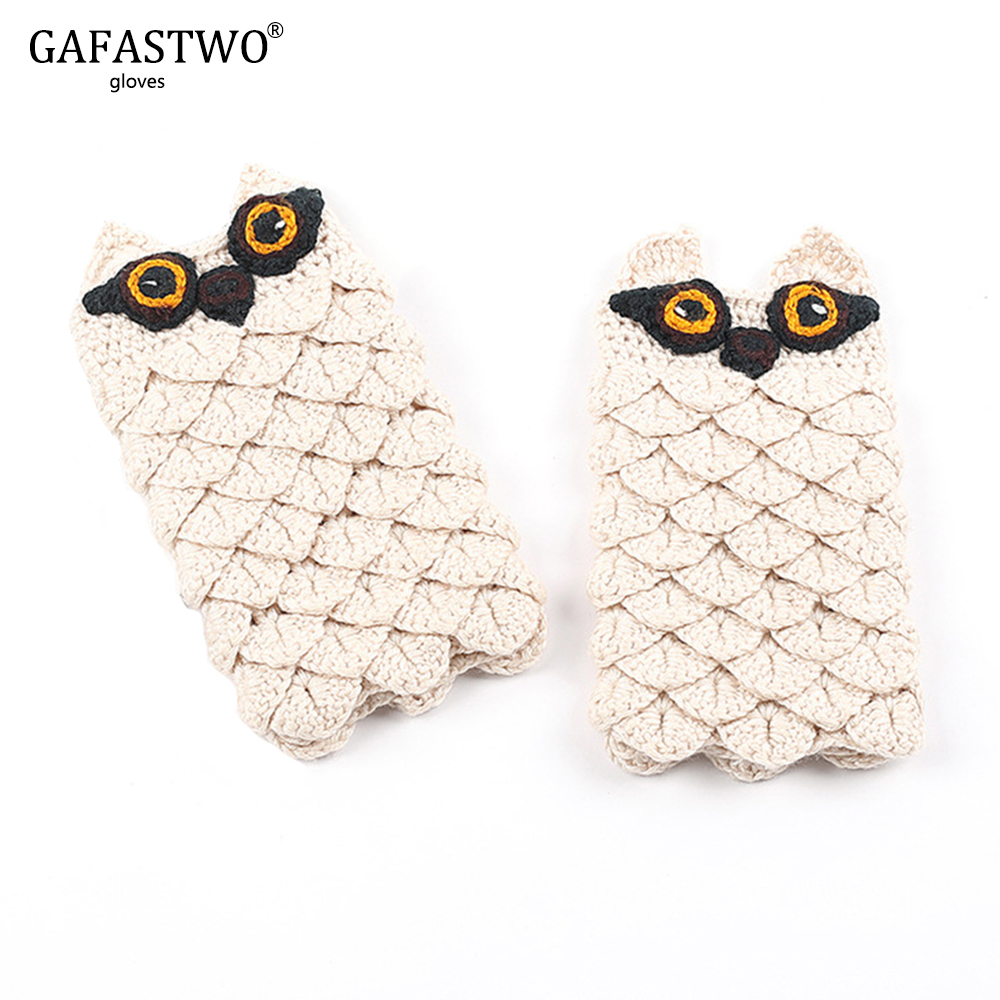 Gloves Female Winter Warm Knit Half Finger Wool Thickening Jacquard Korean Version Of The Finger Owl Cartoon Writing