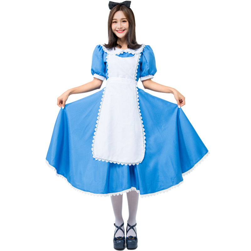 Umorden Wonderland Alice Costume for Adult Women Blue Dress Plus Size XXL Maid Cosplay Outfit Halloween Party