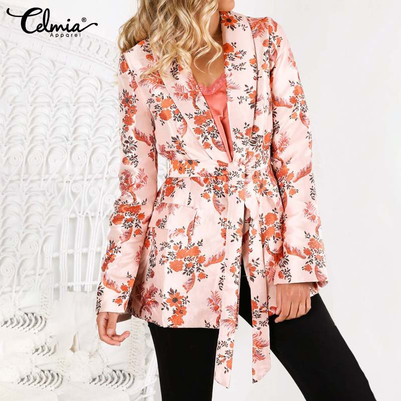 S-5XL Celmia Women's Blazers Autumn Vintage Floral Print Coats Sashes Notched Collar Long Sleeve Casual Outerwear Office Jackets