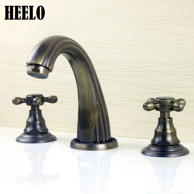 Manufacturers Direct Selling Titanium Gold Copper Hot And Cold 3-hole Split Type Audience Face Wash Basin Faucet Vintage 8-Inch