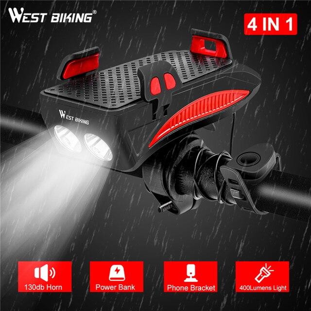 WEST BIKING multifunción 4 en 1 Luz de bicicleta 400 lúmenes bicicleta linterna bicicleta cuerno teléfono titular banco de energía luz delantera de la bicicleta