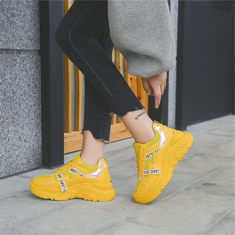 New Classic Style Women Chunky Sneakers Lace Up Female Sport Shoes Woman Outdoor Jogging Sneakers Comfortable Fast Free Shipping