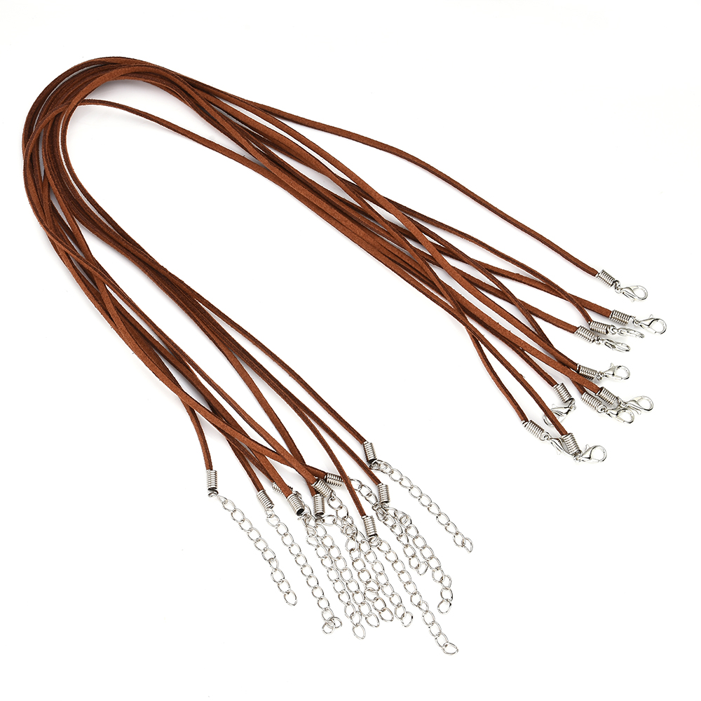 10pcs/Set Black Brown Suede Leather String Necklace Cord Jewelry Making DIY Collar Chain Jewelry
