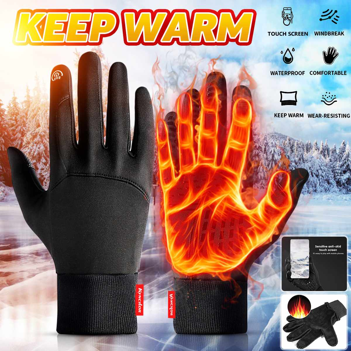 Winter Warm Gloves Touch Screen Waterproof Non-slip For Men Women Ski Snow Riding Outdoor Sports Car Auto Motorcycle