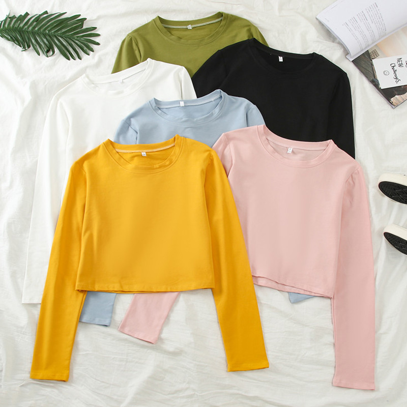 Harajuku Solid Crop Top Long Sleeve T Shirt Women O-neck Basic Graphic Tees Autumn Casual Women Kawaii Candy Colors T-Shirts Top