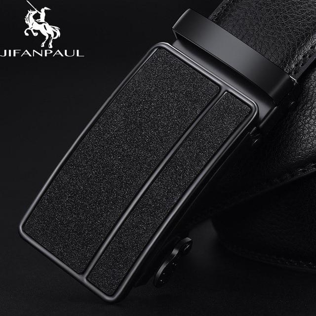 Бренд JIFANPAUL, мужской ремень из натуральной кожи, черный, модный, сплав, люкс класс, автоматическая пряжка, Молодежный кожаный Простой деловой - Цвет: JF09