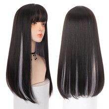 Ailiade perucas sintéticas longas em linha reta franja cosplay perucas para mulheres preto cinza festa lolita perucas de cabelo falso