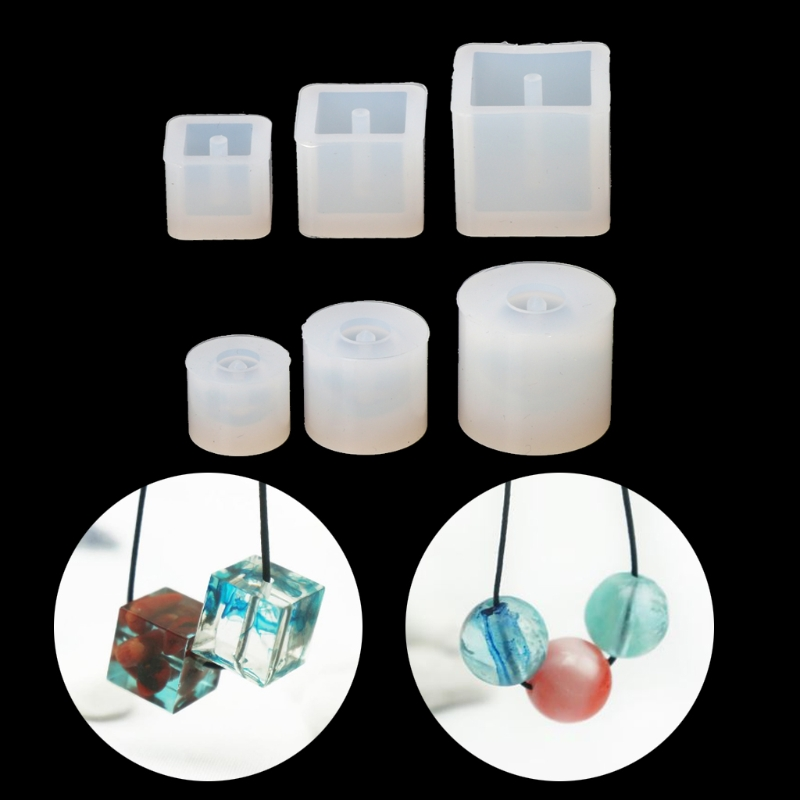 6pcs Silicone DIY Beads Mold Bracelet Earring Pendant Jewelry Making Resin Mould