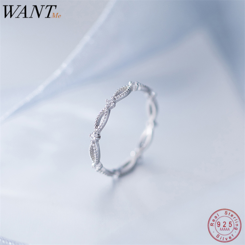 WANTME Trendy Minimalist Oval Geometric Hollow Rings For Women Real 100% 925 Sterling Silver Party Wedding Jewellery Accessories