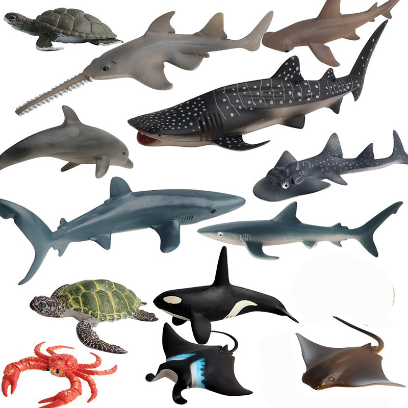 13 Kidns Simulation Sea Life Figure Collectible Toys Sea Turtle Animal Action Figures Kids Plastic Cement Animal Cognitive Toys image