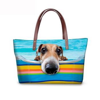 INJERSDESIGNS plaża pies drukowanie torebki damskie modne torebki damskie torebki na ramię dla kobiet modne pakowne torebki dziewczyna torebka plażowa tanie i dobre opinie Na co dzień torebka Torby na ramię Na ramię i torebki Neopren zipper SOFT NONE Moda Poliester Wszechstronny WOMEN Animal prints
