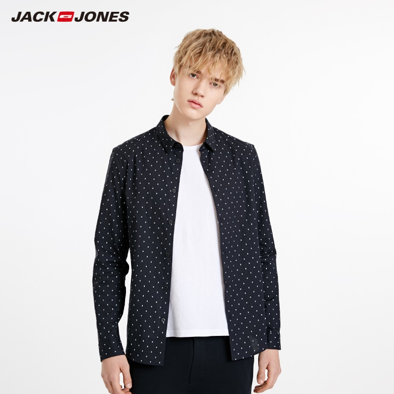 JackJones Men's Slim Fit Basic 100% Cotton Jacquard Long-sleeved Shirt Menswear| 219105578