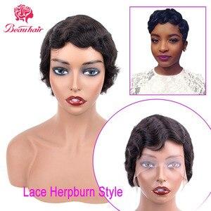Image 4 - הפבורן סגנון קצר תחרה שיער טבעי פאות עבור נשים ברזילאי אוקיינוס גל רמי שיער טבעי אין ריח תחרת פאות שפתוחה נשים