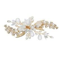 Золотая Расческа для невесты, свадебное ювелирное изделие, аксессуары для невесты, заколки для волос для невесты, головной убор ручной работы, красивый женский головной Убор