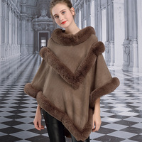 Z52 # New European and American Otter Rabbit Fur Cloak Double V Shawl Autumn and Winter Women Poncho