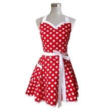 Precioso Sweetheart rojo Retro Cocina delantales mujer chica algodón Polka Dot cocina salón Pinafore Vintage delantal vestido regalo