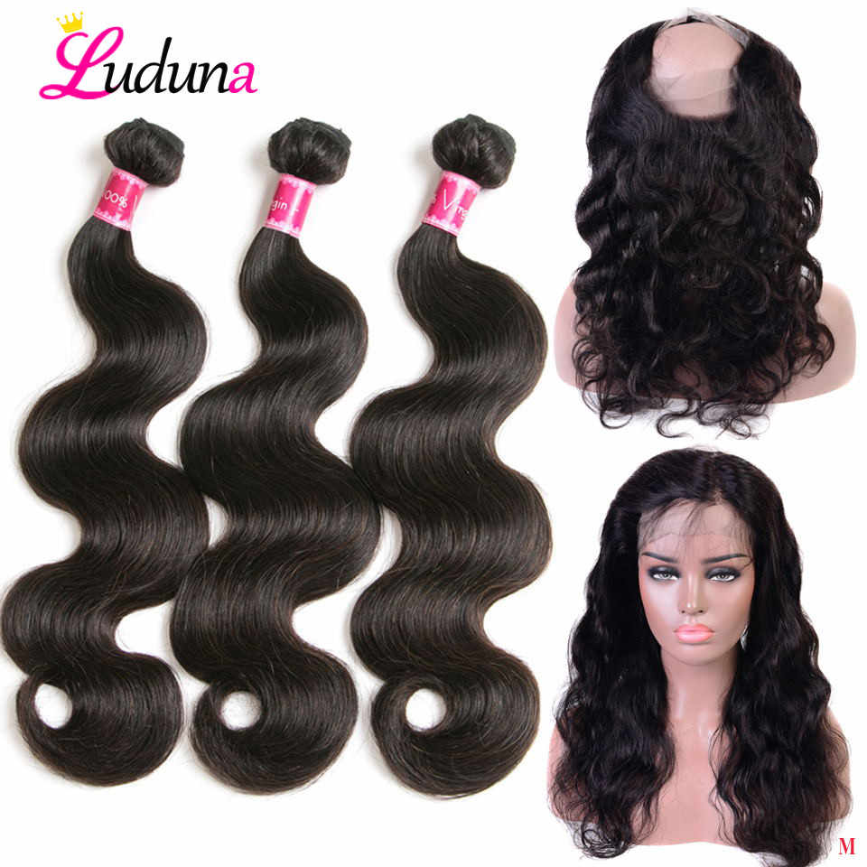 Luduna 100% Human Hair 360 Lace Frontal With Bundle Body Wave Hair Weave 3 Bundles With Closure Peruvian Bundle With Frontal
