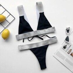 Srebrny i biały Patchwork bikini Set 2020 błyszczące stroje kąpielowe kobiety stringi biquini Knot strój kąpielowy kobiet prążkowany pas strój kąpielowy 6