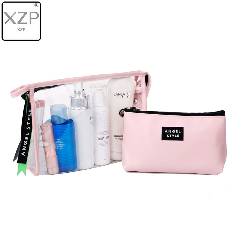 XZP New PVC Transparent Soild Cosmetic Bag 2pcs/Set PU Travel Makeup Bag Toiletry Storage Sorting Bag Women Girls Necesserie
