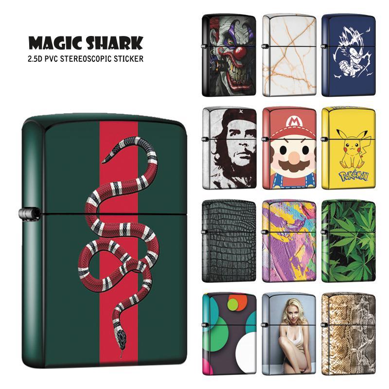 Magic Shark Fashion 2020 New Ultra Thin 2.5D Dragon Ball Leopard Snake Chegwala Film Sticker Case For ZIPPO Lighter