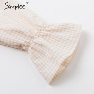 Image 5 - Simplee Gestrickte off schulter party kleid Elegante plaid puff sleeve kleid frauen Sexy streetwear damen herbst winter vestidos
