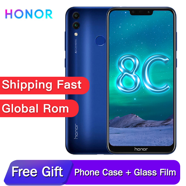 Original honor 8C Global rom 6.26in face recognition Snapdragon 632 Octa core front 8.0MP dual rear camera 4000mAh 3 cards slot