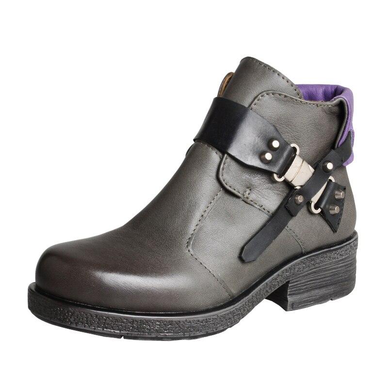 Mabaiwan Mode Nieten Frau Stiefeletten Braun Echtes Leder Zipper Warme Schuhe Frauen Winter Herbst Niet Retro Kurze Stiefel - 5