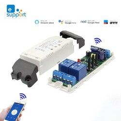 Умный беспроводной модуль переключателя с таймером EWeLink, 7-32 В постоянного тока, 85-250 В, 2 канала, Wi-Fi, голосовое управление, совместим с Google Home