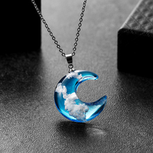Transparent Resin Rould Ball Moon Pendant Necklace Women Blue Sky White Cloud Chain Necklace Fashion Jewelry