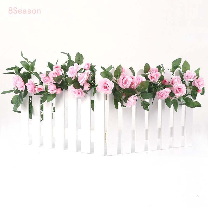 8Season 4.4M/2pcs Silk Artificial Roses Flowers Rattan Strip Vine For Wedding Home Party Decor