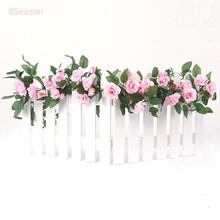 8Season 4.4M/2pcs Silk Artificial Roses Flowers Rattan Strip Vine For Wedding Home Party Decor