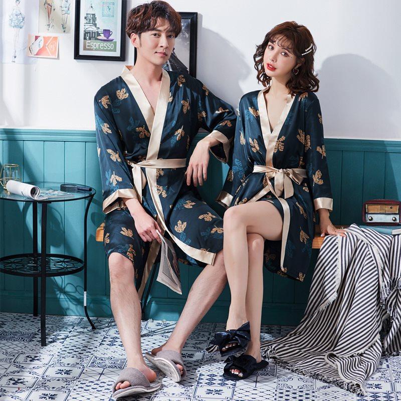 Satin Silk Summer Kimono Lover Honeymoon Robe Men Women Bathrobe Home Robes Soft Peignoir Homme Badjas Sleep Lounge Sleepwear