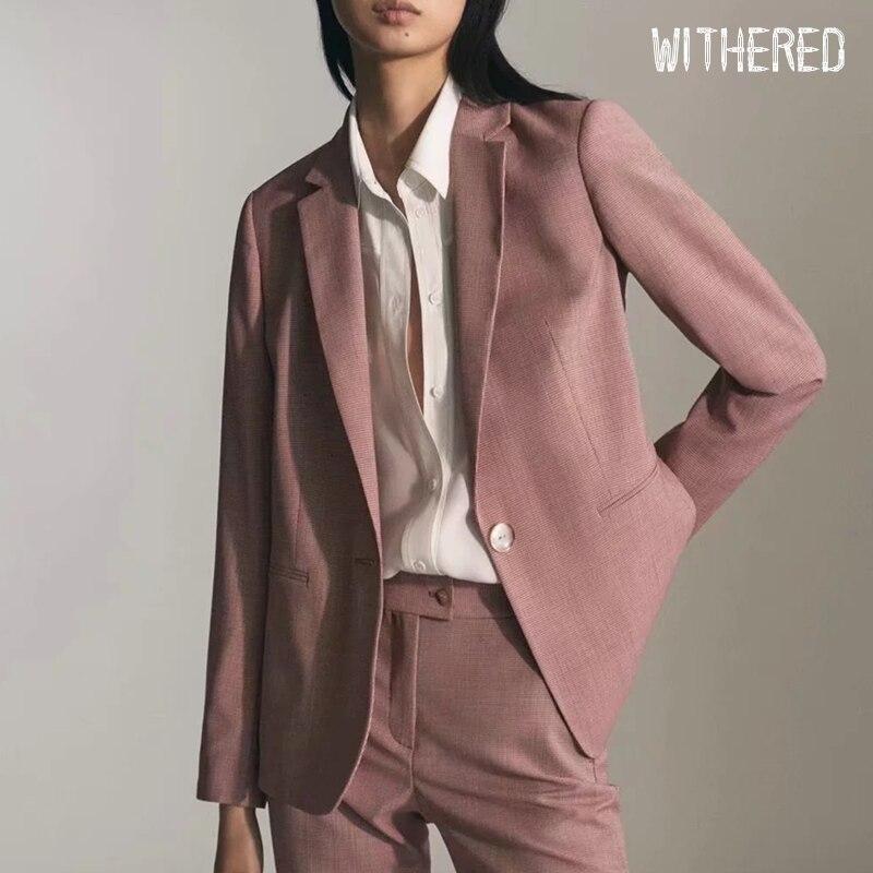 Withered  Winter Blazer Feminino England Office Lady Casual Pink Plaid Blazer Women Blazer Mujer 2019 Women Blazers And Jackets