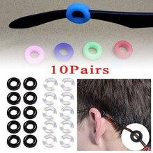 10 pares redondos óculos ganchos de orelha silicone óculos templo dicas retentor anti-deslizamento conforto óculos retentores para óculos