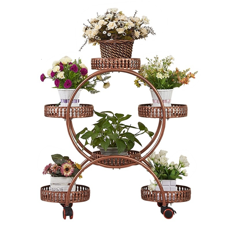 Multi-storey Belt Round Landing Type Art Green Luo Flowerpot Frame A Living Room Balcony Flower AirsRoom Introspection Space