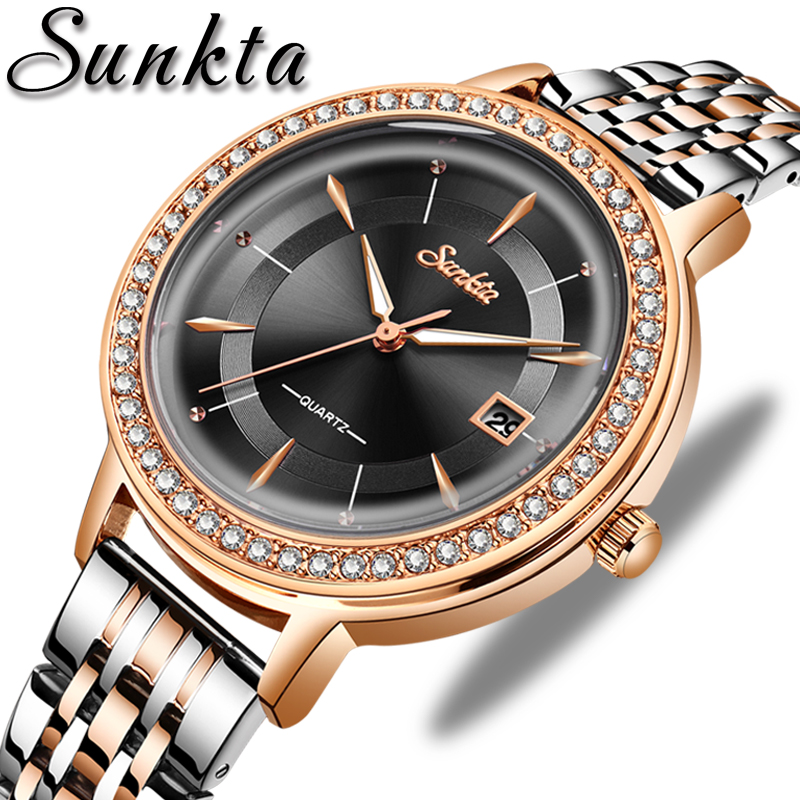 Relogio Feminino 2020 SUNKTA Womens Watches Top Brand Luxury Casual Fashion Watch Ladies Waterproof Stainless Steel Quartz Clock