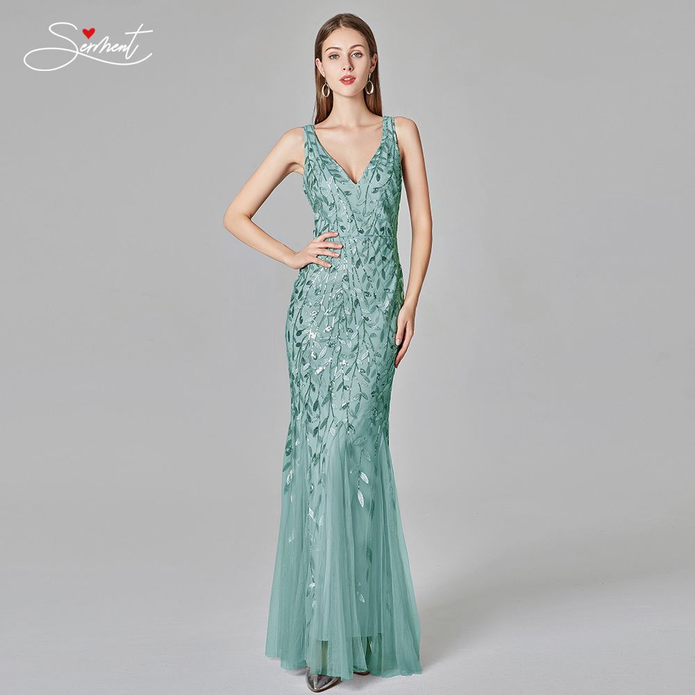 Women V-neck sleeveless Simple beaded slim Mermaid leaf pattern evening dresss Plus size