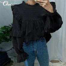 Celmia Women Blouse 2020 Fashion Long Flare Sleeve Casual Vintage Shirt Summer Ruffled Top Elegant Office Sweet Blusas Plus Size(China)