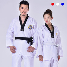 Black Taekwondo Uniform Clothes Traditional white suite for kids adult student Tae kwon do dobok approve V-Neck clothing F