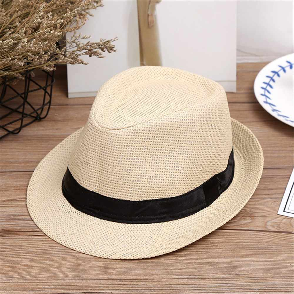 New Children Kids Summer Beach Straw Hat Jazz Panama Trilby Fedora solid Hat Gangster cute Cap for girls boys Baby Hat czapka
