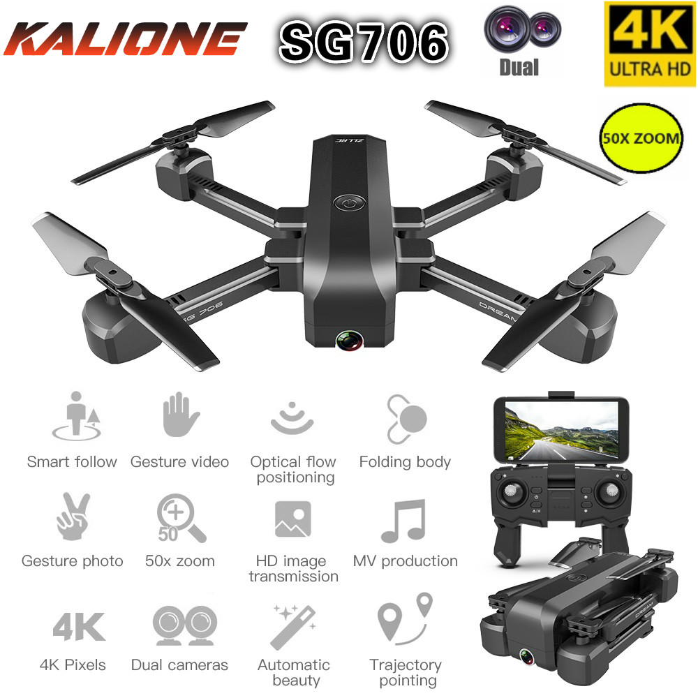 SG706 RC Drone 4k Profissional  50x Zoom Drones With Camera HD WIFI FPV Quadcopter Optical Flow  One Button Return Selfie Dron