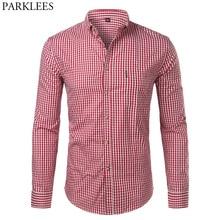 Erkek ekose pamuk Casual Slim Fit uzun kollu düğme aşağı elbise gömlek 2018 moda erkek iş iş marka gömlek Chemise homme