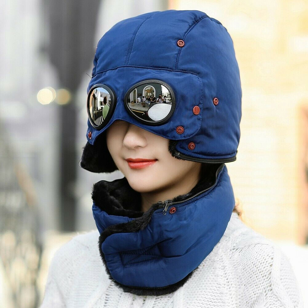 Thermal Winter Trapper Hat with Glasses Autumn Winter Cycling Windproof Outdoor Cap TT@88