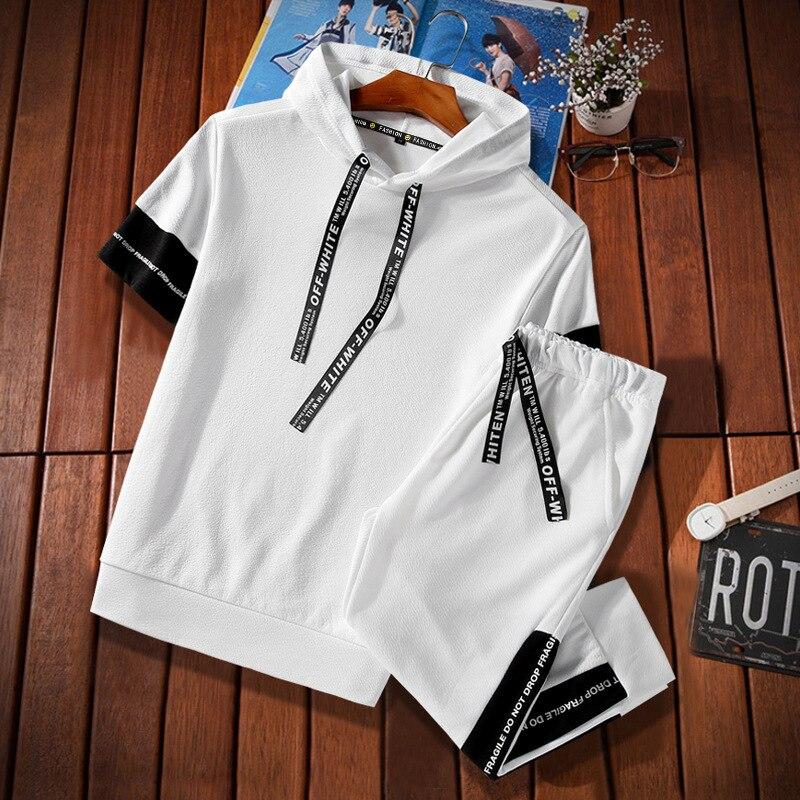 2019 Summer MEN'S Short Sleeve Shirt Set Korean-style Casual Sports Teenager Hoodie Capri Pants Two-Piece Set Fashion