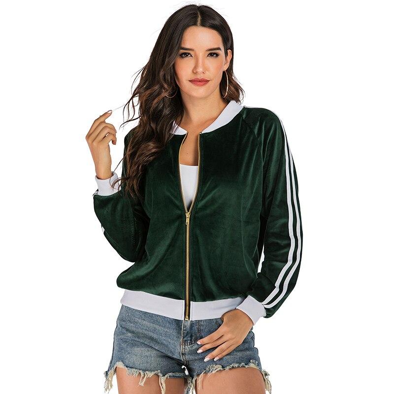 New   Basic     Jacket   Women Long sleeve Zipper Velvet Slim Green Bomber   Jacket   Women Coat 2019 Autumn Ladies Coats Chaqueta Mujer