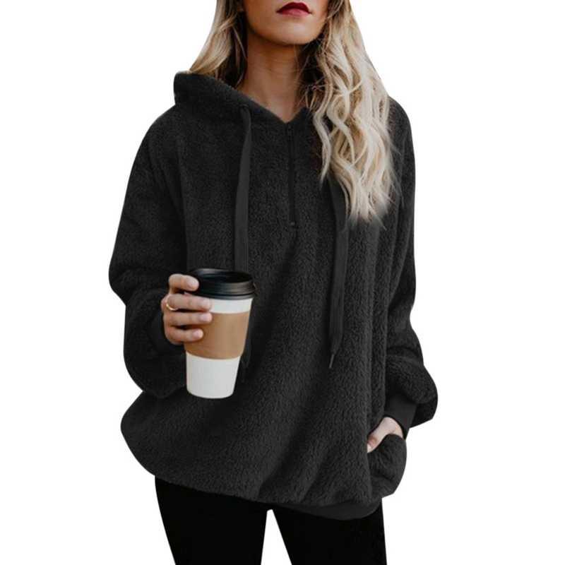 Sfit feminino velo hoodies 2018 manga comprida com capuz pulôver moletom outono inverno quente zíper bolso casaco de pele plus size